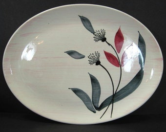 """MCM Stetson China Pink Wash Floral 13 3/4"""" Oval Platter Mid Century Modern"""