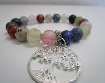 Natural stone bracelet, Bracelet, Womens jewelry, Womens bracelet, Tree of life, Gift, Gift for women, Stone bracelet, Jewelry, Sodalite