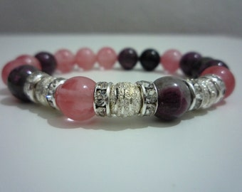 Watermelon tourmaline and tourmaline bracelet