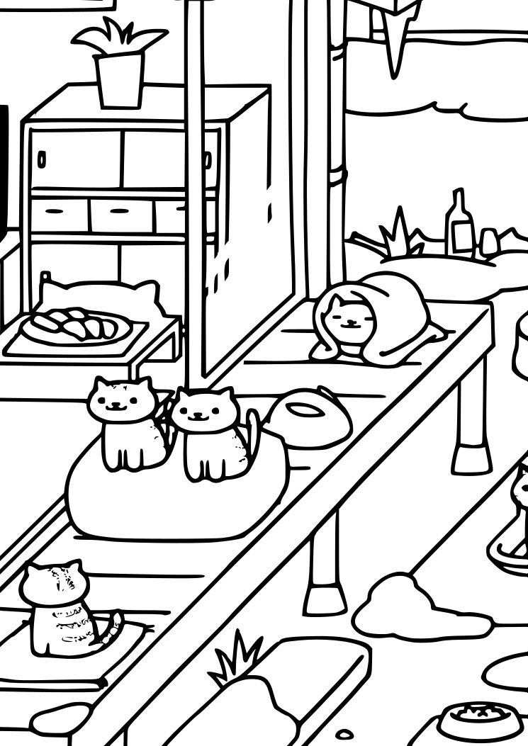 Neko Atsume Coloring Page Cat Lover Instant Download