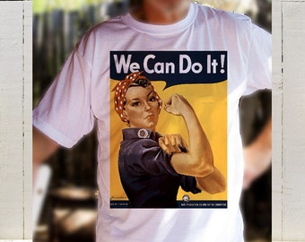 Special Offer, Free Shipping:The Immortal We Can Do It WW2 Rosie The Riveter Propaganda Poster Printed On A T Shirt