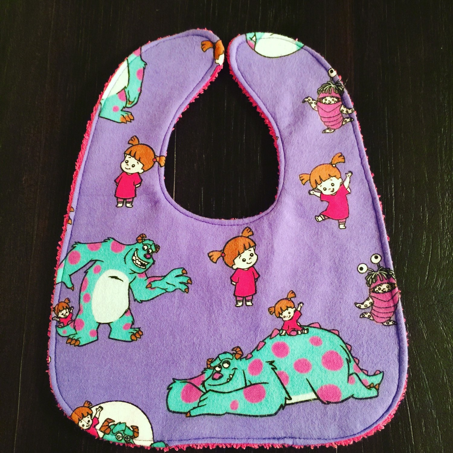 Monsters inc vintage fabric inspired baby bib handmade for Baby monster fabric
