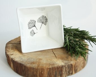 Tapas bowl Ginkgo Biloba, Screenprint, black and white, tapas tableware, nature print, tableware