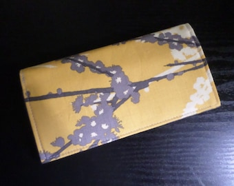 Sparrows in Vintage Yellow by Joel Dewberry Fabric Checkbook Cover, Handmade FREE SHIPPING
