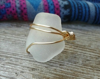 Sea Glass Bottleneck Ring