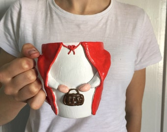 Cute Little Red Riding Hood mug. Unique fairytale perfect gift.