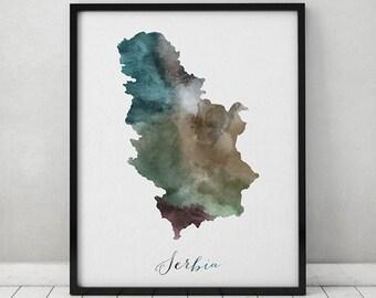 Serbia watercolor map, Serbia Wall art, map poster, Serbia watercolor print, Serbia map poster, Fine art prints,  ArtPrintsVicky