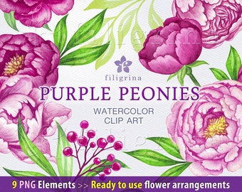 Purple Peonies arrangements WATERCOLOR Clip Art. Fresh wedding bouquet, green leaves, floral garland, wreath. 9 PNG elements. Commercial use
