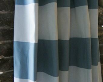 Cashmere Blue Curtain Panels 6'' Cabana Stripe Window Curtain Panels  Modern  Window Treament Pairs Lined