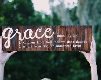 grace definition board, grace, wooden decor, farmhouse decor, christian home decor, definition board, wooden sign