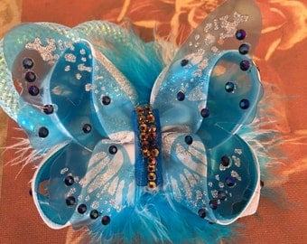 Blue Butterfly Bow