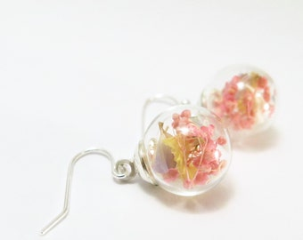 Real Flower earrings, Real Flower drop earrings, Real Flower Jewelry, Pink Flower Earrings, Simple drop Earrings, Sakura Accessories