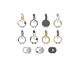 Kitty Butts - Cute Temporary Tattoos // Cats Lover // Kittens // Cartoon // Fun
