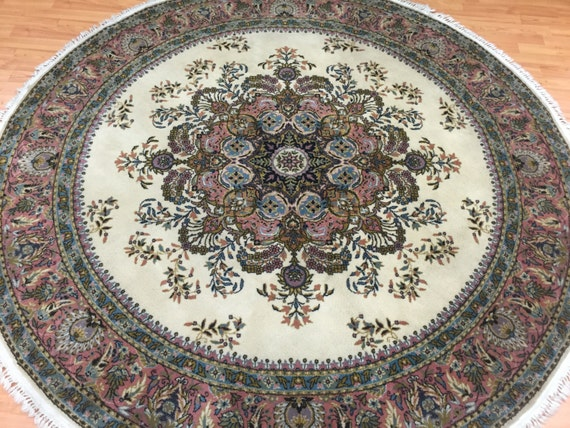 """6'6"""" x 6'6"""" Round Turkish Wilton Weave Oriental Rug - 100% Wool Pile"""
