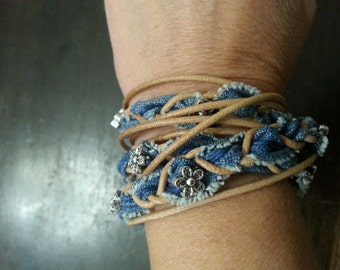 Wrap bracelet of jeans with magnetic