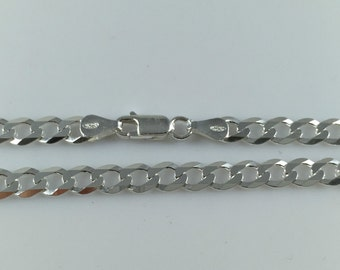 925 Sterling Silver Gents Boys Solid Mens Chain Necklace Flat Curb Various Lengths