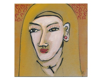 """Image """"Nun"""" 20/20 cm portrait - beautiful people - """"Holy"""" painting abstract"""