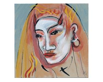 Devil's nun 20/20 cm picture portrait, painting abstract