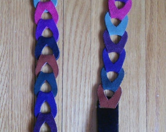 Vermillion Multi-coloured Boho Suede and Leather Belt