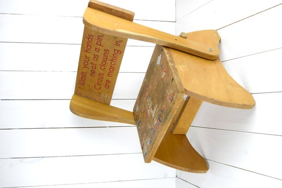 Vintage 1960s Children S Folding Step Stool And Chair