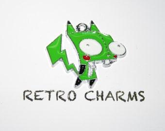 Sterling Silver Green Invader Zim Retro Charm
