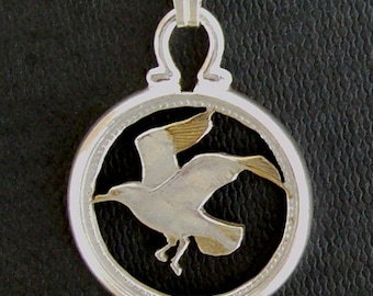 Flying Tern Sea Bird Cut Coin Animal Pendant Necklace Gold and Silver Plated Barbados 10 Cents with Sterling Silver Chain