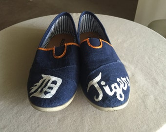 Detroit Tigers Baseball Slip-on Canvas Shoes