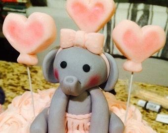 Elephant and Hearts Fondant Cake Topper