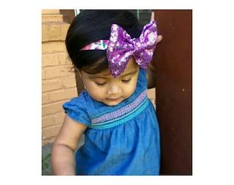 Sequin bow on headband