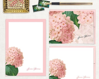 complete personalized stationery set - PINK HYDRANGEA - note cards - notepad - floral stationary - letter writing set - pink envelopes