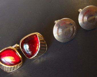 Lot of 2 Pairs of Vintage Cuff Links, Swank and Anson Signed.