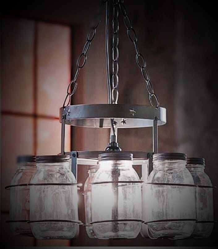 Rustic Industrial Lighting Chandelier Mason Jar Chandelier: Rustic Mason Jar Hanging Chandelier Light By Shaypaulboutique