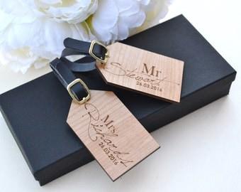 Wooden Personalised Luggage Tags / Bride & Groom Luggage Tags