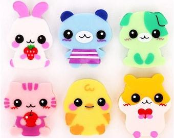 Kawaii Animal Eraser Set (6 Erasers) / Cute Erasers / Kawaii Erasers / Japanese Stationery / Cute Animal Erasers / Cute Cat Erasers