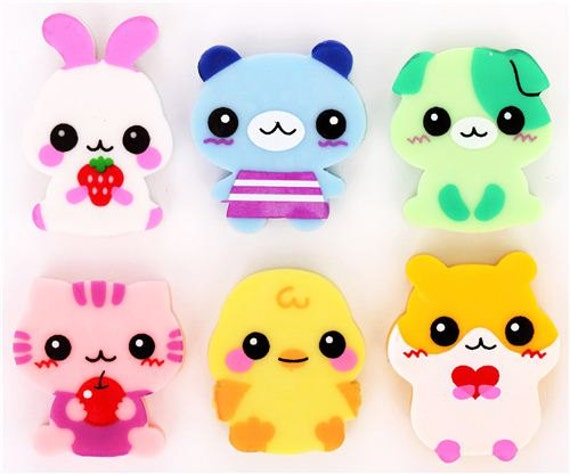 Kawaii Animal Eraser Set 6 Erasers / Cute Erasers / Kawaii