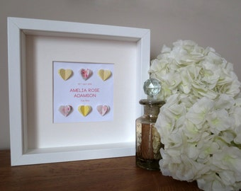Personalised Heart Baby Birth Announcement Wall Art