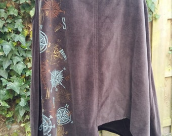 Brown velvet asymmetric tunic