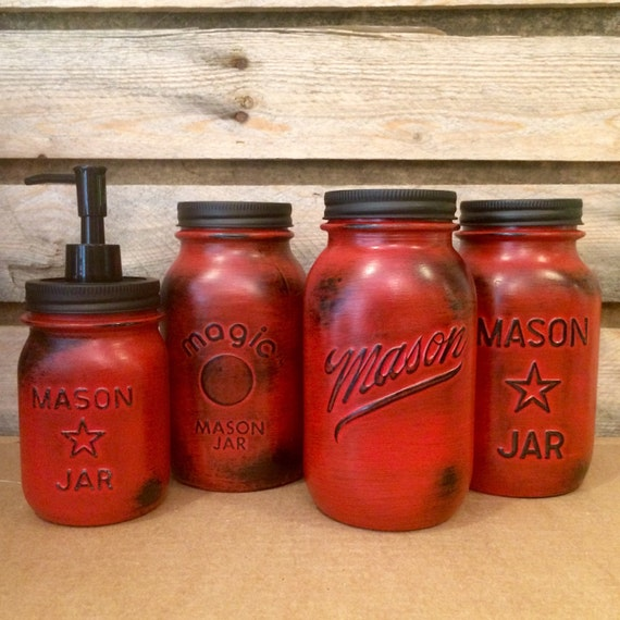 red mason jar canister