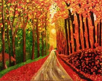 Autumn Road Palette Knife Oil Painting