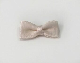 40 tiny petite single sided satin beige bows. Card making. Lolita.