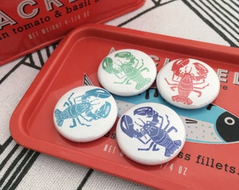 Lobster Badge Pack. Lobster Pin Badges. Nautical Gift. Pack of 4 Badges. Seaside Pins. Seaside Lobster Party Favours