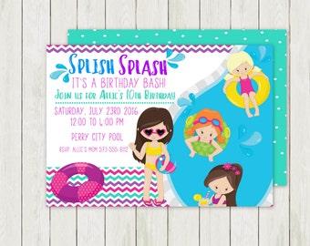 Pool Party Birthday Invitation, Swimming Birthday Invitation, Printable Birthday Invitation, Digital Birthday Invitation, Pool Party Invite