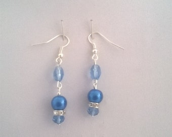 Blue Dangle Pearl and Crystal Earrings, Handmade Blue Earrings, Sparkly Blue Earrings