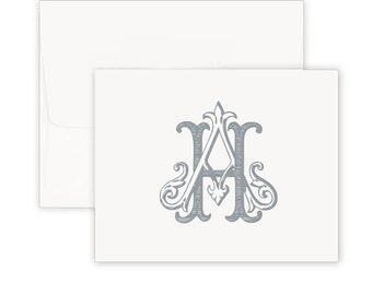 Thermography Raised Ink Personalized Stationery Set- Vintage Monogram Foldover Card