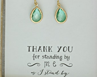 Set of 6 Light Green Earrings, Bridesmaid Green Earrings, Green Gold Earrings, Bridesmaid Jewelry Gift, Bridal Party Gifts, ES6