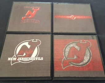 NJ Devils Ceramic Tile Drink Coasters / Devils Coaster Set
