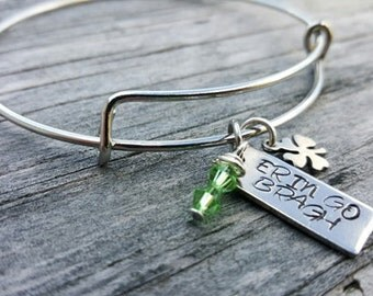 Hand Stamped Bangle Bracelet - Irish - Erin Go Bragh - Irish Heritage - Bangle