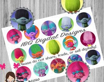 Trolls 1 inch bottle cap image sheet || Poppy and Branch Trolls || Print at home