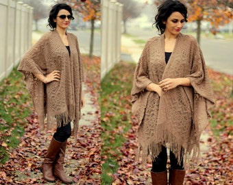 Taupe Net Poncho/Sweater Poncho