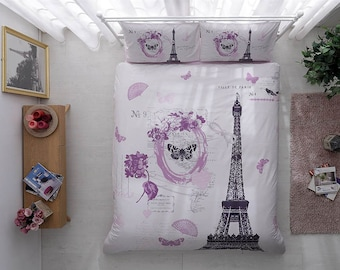 articles similaires housse de couette tour eiffel chat lune toiles nuit toits de paris. Black Bedroom Furniture Sets. Home Design Ideas